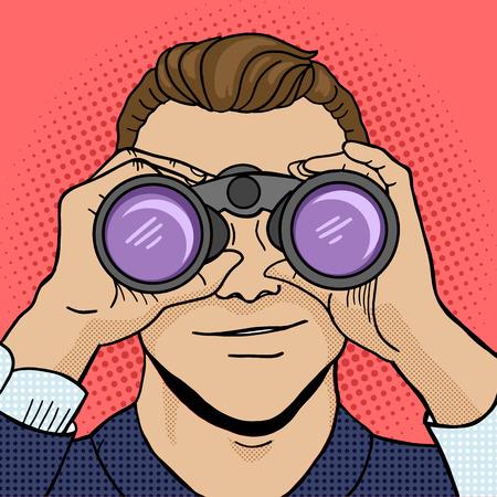 Businessman looking through binoculars pop art style vector illustration. Comic book style imitation