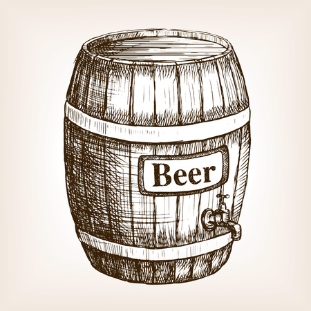 Barrel of beer sketch style vector illustration. Old engraving imitation. Hand drawn sketch imitation Çizim