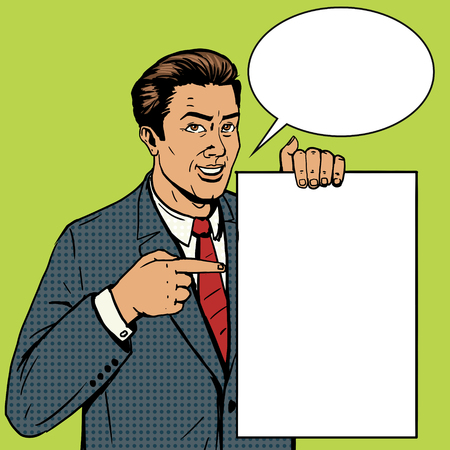 poster art: Businessman show poster pop art style vector illustration. Comic book style imitation