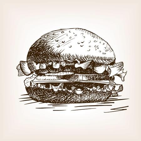 ハンバーガー サンドイッチ スケッチ スタイル ベクトル イラスト。古い彫刻の模倣。手描きスケッチの模倣