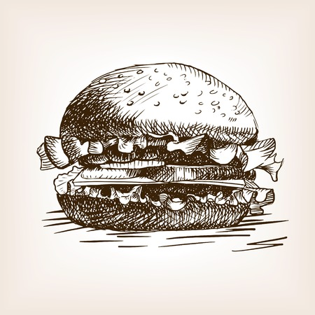 Burger sandwich sketch style vector illustration. Old engraving imitation. Hand drawn sketch imitation Vettoriali