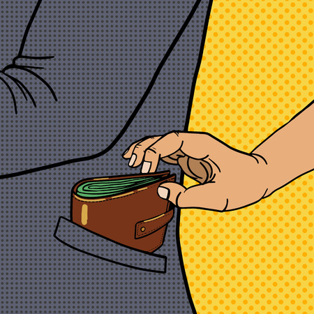 pocket book: Thief steals wallet from pocket pop art style vector illustration. Comic book imitation. Crime illustration