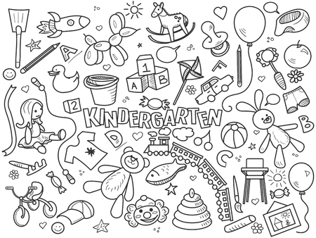 baby clothing: Kindergarten design colorless set vector illustration. Coloring book. Black and white line art