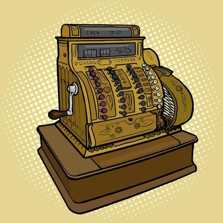 Ilustración de la vendimia retro máquina de efectivo del vector del estilo pop art. la imitación del estilo del cómic Ilustración de vector