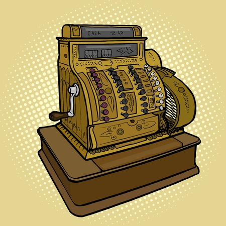 cash register: Vintage retro cash machine pop art style vector illustration. Comic book style imitation