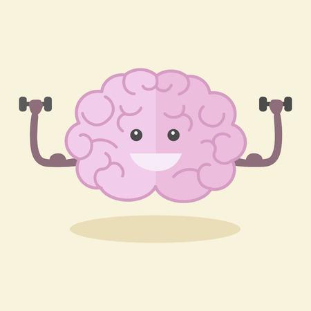 脳は、フラット スタイルのベクトル図をトレーニングします。カラフルな漫画強力な脳。  イラスト・ベクター素材