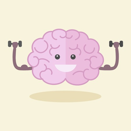 hand drawn cartoon: Brain training flat style vector illustration. Colorful cartoon powerful brain.