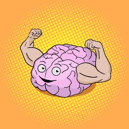 knowledge clipart: Brain training pop art style vector illustration. Colorful cartoon powerful brain. Illustration