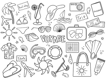 sunglasses recreation: Voyage design colorless set vector illustration. Coloring book. Black and white line art