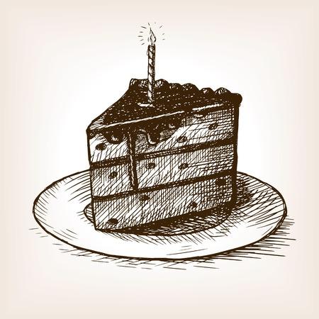 trozo de pastel: Pedazo de torta con una ilustración del vector del estilo del bosquejo de la vela. Grabado antiguo de imitación. boceto dibujado a mano de imitación