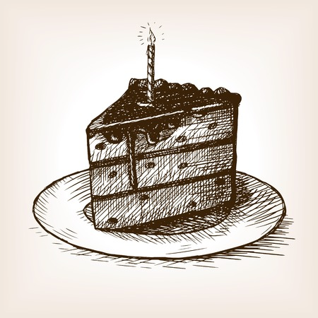 porcion de torta: Piece of cake with a candle sketch style vector illustration. Old engraving imitation. Hand drawn sketch imitation