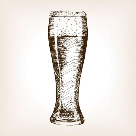 rough draft: Glass of beer sketch style vector illustration. Old engraving imitation. Hand drawn sketch imitation Illustration