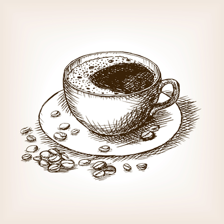 Cup of coffee with coffee beans sketch style vector illustration. Old engraving imitation. Hand drawn sketch imitation Vettoriali
