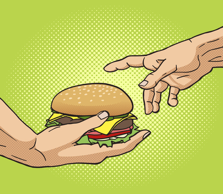 funny image: Hand gives a burger to other hand pop art style vector illustration. Comic book style imitation. Classic art painting imitation. Funny image with burger Illustration