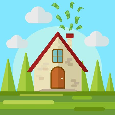 earn money: Money go to home flat style vector illustration. Work at home. Earn money at home. Freelance