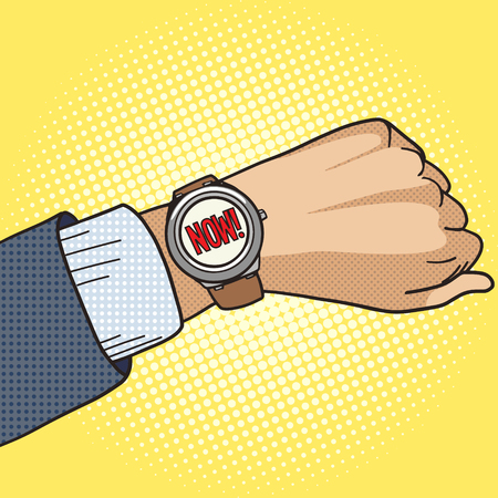 clock: Wrist watch show now pop art style vector illustration. Comic book style imitation