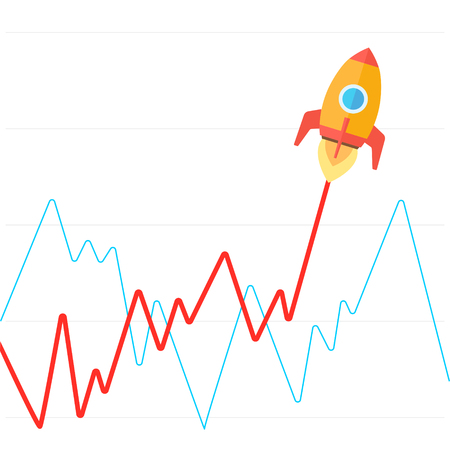 achievement clip art: Income graph go up like rocket flat style vector illustration. Growing up as a rocket takes off metaphor