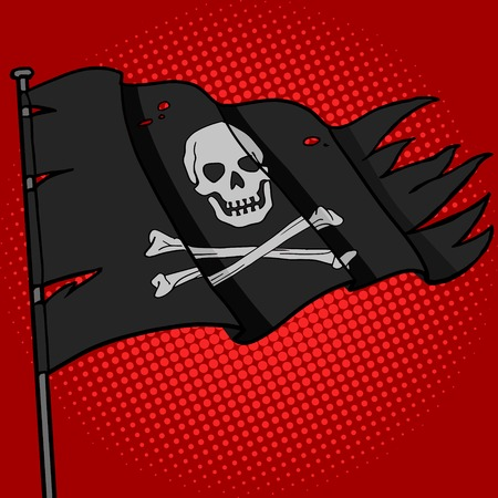 pirate flag: Pirate flag pop art style vector illustration. Comic book style imitation