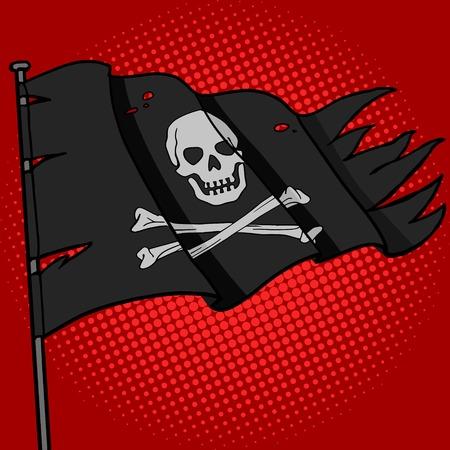 drapeau pirate: Pirate flag pop style vecteur art illustration. imitation de style de bande dessinée