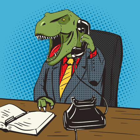 old phone: Dinosaur businessman talking by old phone pop art style vector illustration. Ancient animal. Tyrannosaur. Comic book style imitation