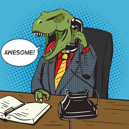 tyrannosaur: Dinosaur businessman talking by old phone pop art style vector illustration. Ancient animal. Tyrannosaur. Comic book style imitation