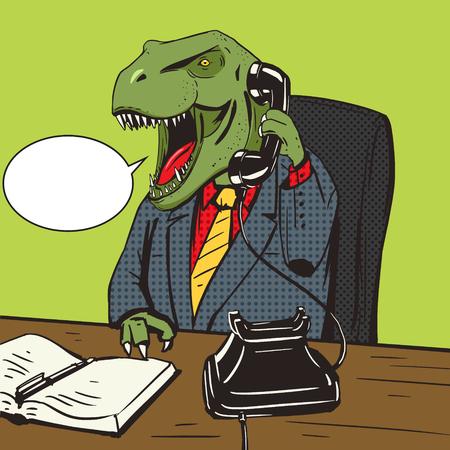 Dinosaur affaires parlant par ancien téléphone pop style vecteur art illustration. ancien animal. Tyrannosaur. imitation de style de bande dessinée
