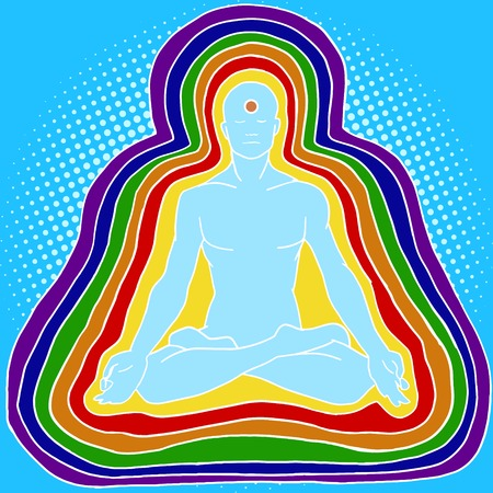 yogi aura: Silhouette of meditating human aura pop art style vector illustration. Aura of human. Esoterism