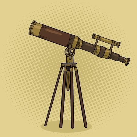 Vieux télescope pop style vecteur art illustration. Comic imitation de style livre. outil de science
