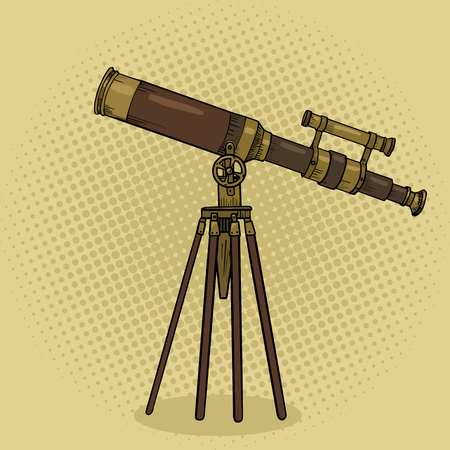 Old telescope pop art style vector illustration. Comic book style imitation. Science tool