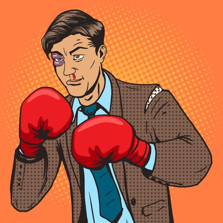 Businessman fights in boxing gloves pop art style vector illustration. Comic book style imitation. Conceptual illustration