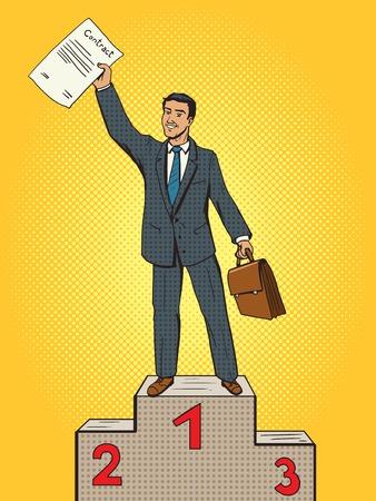 primer lugar: El hombre de negocios ganó contacto primera ilustración pop lugar del vector del estilo del arte. El hombre de negocios en el pedestal. ganador de negocios Vectores