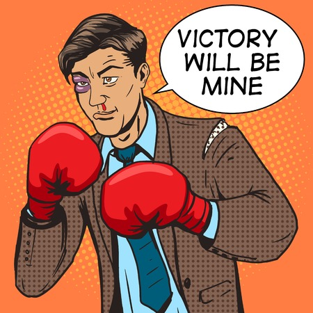 bruised: Businessman fights in boxing gloves pop art style vector illustration. Comic book style imitation. Conceptual illustration