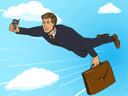 Super hero businessman flying in sky pop art style vector illustration. Comic book style imitation Vettoriali