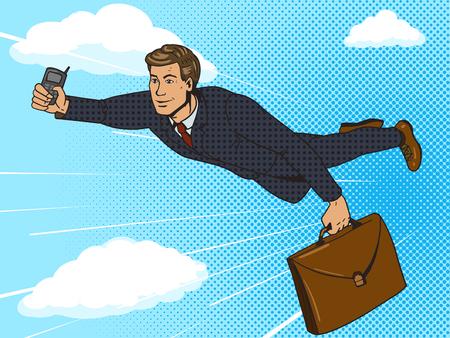 Super held zakenman die in hemel vliegen pop art stijl vector illustratie. Comic book stijl imitatie