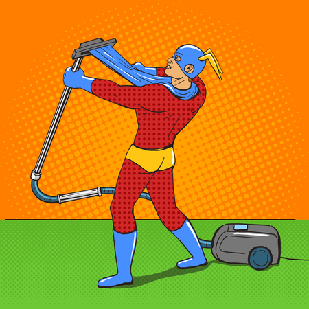 vacuuming: Superhero with vacuum cleaner pop art style vector illustration. Comic book style