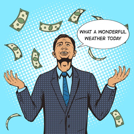 Businessman under the money rain pop art style vector illustration. Comic book style imitation