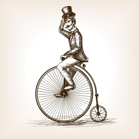 gentleman: Man on retro vintage old bicycle sketch style vector illustration. Old hand drawn engraving imitation. Gentleman on a bicycle
