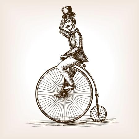 Uomo sul retrò vintage vecchio abbozzo bicicletta stile illustrazione vettoriale. Vecchia parte tratte incisione imitazione. Gentleman su una bicicletta