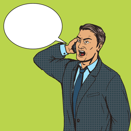 talks: Angry businessman speaks by phone pop art style vector illustration. Comic book style imitation. Conceptual illustration