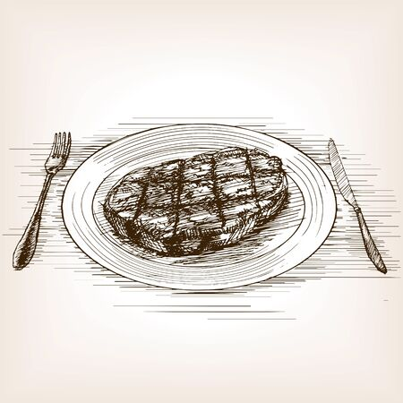 grill meat: Steak sketch style vector illustration. Old hand drawn engraving imitation.