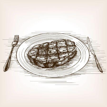 eatable: Steak sketch style vector illustration. Old hand drawn engraving imitation.