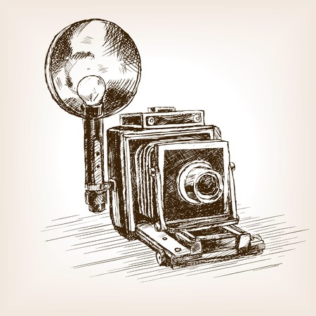 people  camera: Old photo camera  sketch style vector illustration. Old hand drawn engraving imitation.