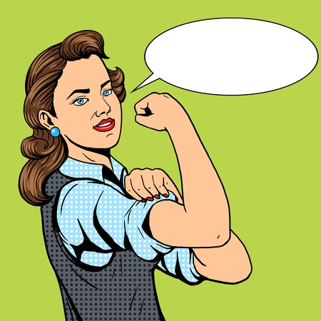Business woman hand gesture pop art style illustration. Comic book style imitation. Conceptual illustration Vettoriali