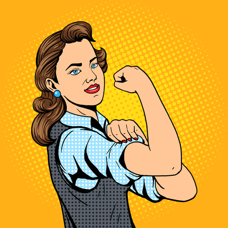 Business woman hand gesture pop art style illustration. Comic book style imitation. Conceptual illustration Vettoriali
