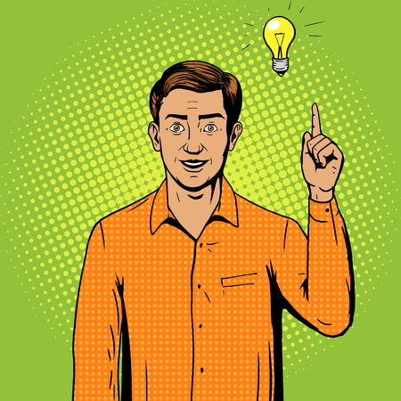 yellow art: Man got a great idea pop art style illustration. Comic book style imitation. Vintage retro style. Conceptual illustration