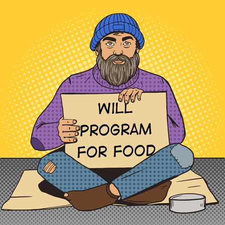 poor man: Homeless programmer man with paper sign pop art style illustration. Comic book style imitation. Vintage retro style. Conceptual illustration