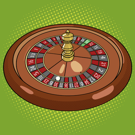 vegas strip: Roulette in casino pop art style vector illustration. Comic book style imitation. Vintage retro style. Conceptual illustration Illustration
