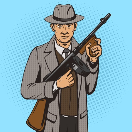 cartoon gangster: Gangster with machine gun pop art style illustration. Comic book style imitation. Vintage retro style. Conceptual illustration