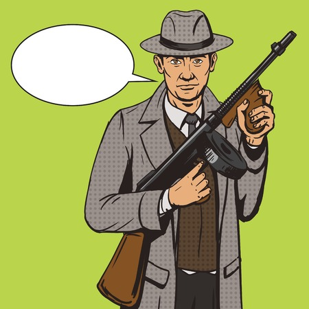 pistolas: Gángster con la ilustración de la ametralladora del estilo del arte pop. Cómica imitación del estilo del libro. estilo retro de la vendimia. ilustración conceptual