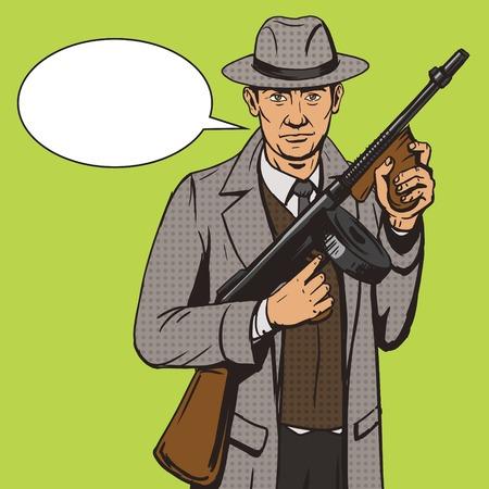 Gangster with machine gun pop art style illustration. Comic book style imitation. Vintage retro style. Conceptual illustration
